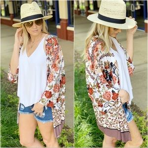 Rust floral tie front kimono cardigan
